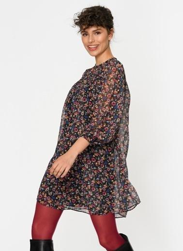 Loves You Robası Pileli Emprime Şifon Elbise Siyah